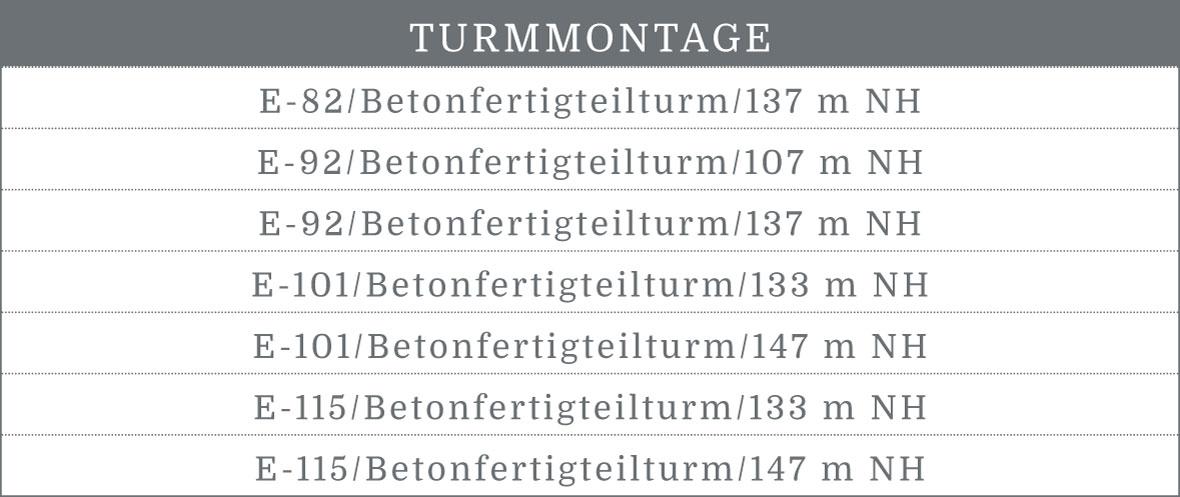 BEZ-Montage-GmbH-Tabelle-Leistungsspektrum-Turmmontage
